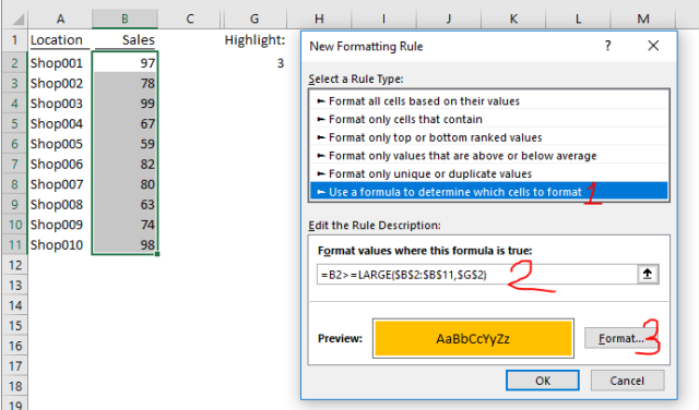 Excel Tips - Highlight Top X with drop down 6
