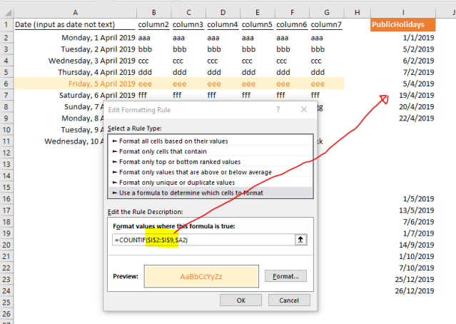 excel tips - using table in conditional formatting1