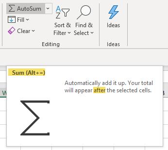 Excel Tip - AutoSum