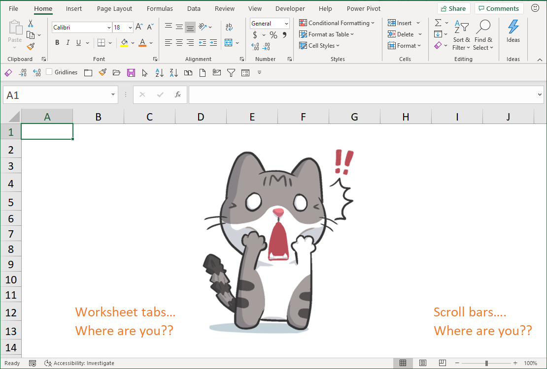 Excel Tip - Hide and Seek Scroll bars and worksheet tabs